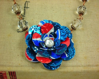 Pepsi Rose and Crystal Necklace. Recycled Soda Can Art.