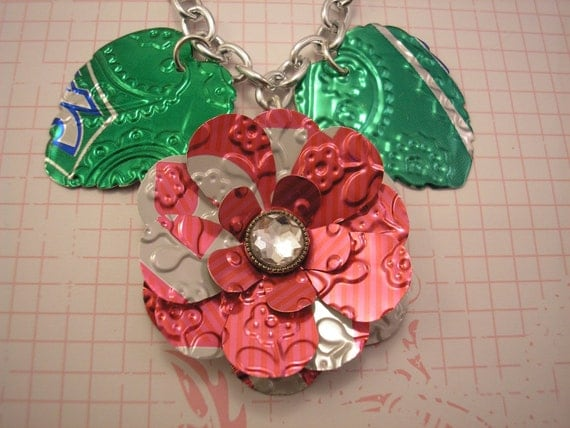 Soda Can Art. Upcycled Statement Necklace. TaB Pink Flower and Leaves