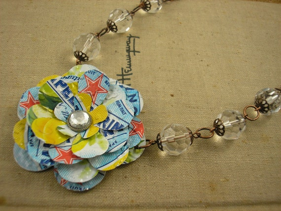 Recycled Soda Can Art. Sanpellegrino Rose and Crystal Beads.  Yellow - Blue