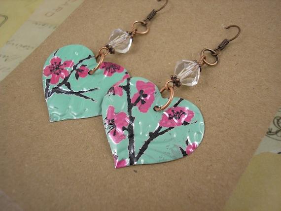 Tea Heart Earring w/ Crystal Bead.  DOUBLE-sided. Recycled Soda Can Art. AZ Tea