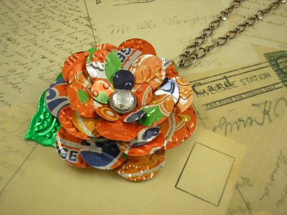 Fanta Flower and Leaf.  Trendy 30 Inch Necklace. Recycled Soda Can Art.