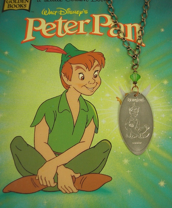 Disney - PETER PAN with Green Crystal Bead Necklace - Smashed Quarter.  Recycled Art  -  Limited Edition