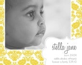 Yellow Damask Square Adoption Announcement - Set of  25 PRINTED with envelopes