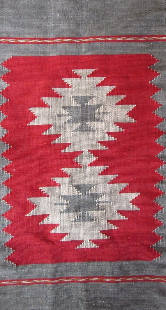 Cotton rug quilt Nan design  North Thailand 36 inches x 19 inches red gray