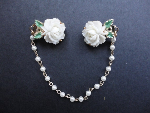 Vintage White Rose and Faux Pearl Sweater Clasp/Guard