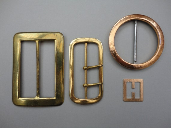Vintage Set of Four Metal Goldtone Belt Buckles
