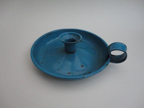 SALE 50% OFF - Vintage Blue Enamel Candle Holder