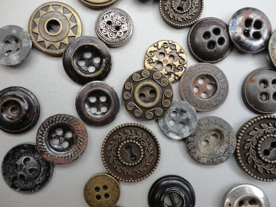 Vintage Collection of 28 Metal Buttons