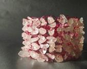Knitted cuff bracelet - rose quartz