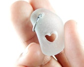 Beach Glass White Pendant with Carved HEART- Romantic Gift