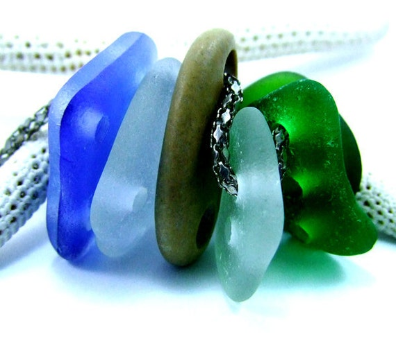 Drilled Sea Glass and Beach Stone Connectors Button