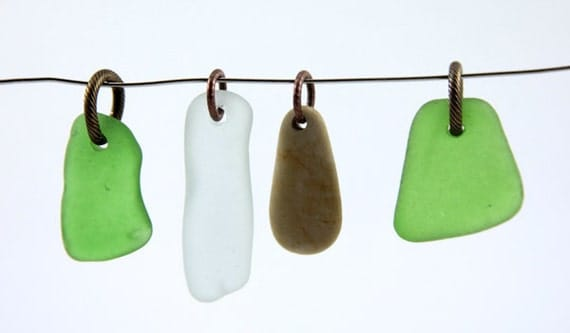 Sea glass and Beach Stone Pendants 4 jump rings