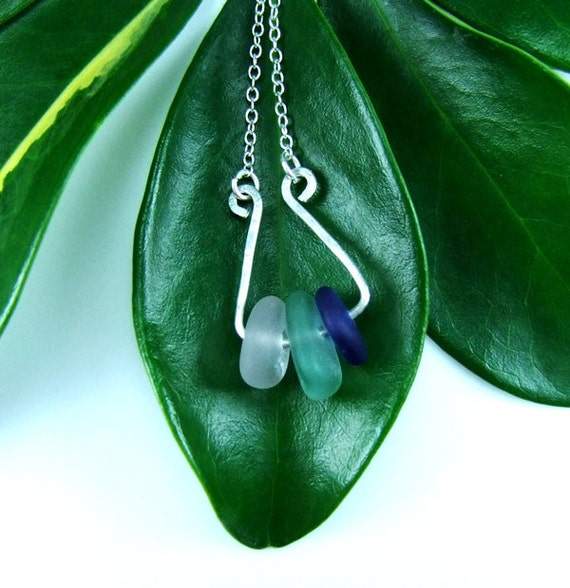 Blue Sea Glass Necklace //  Silver Sterling Wire Pendant