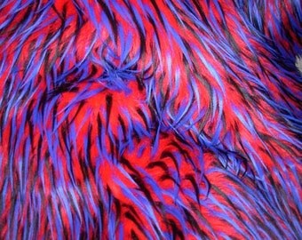 Multi Color Red Blue and Black Faux Fur Craft Size