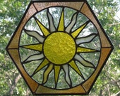 "Stained Glass Suncatcher ""Sunshine"" hexagon Sun FREE SHIPPING"
