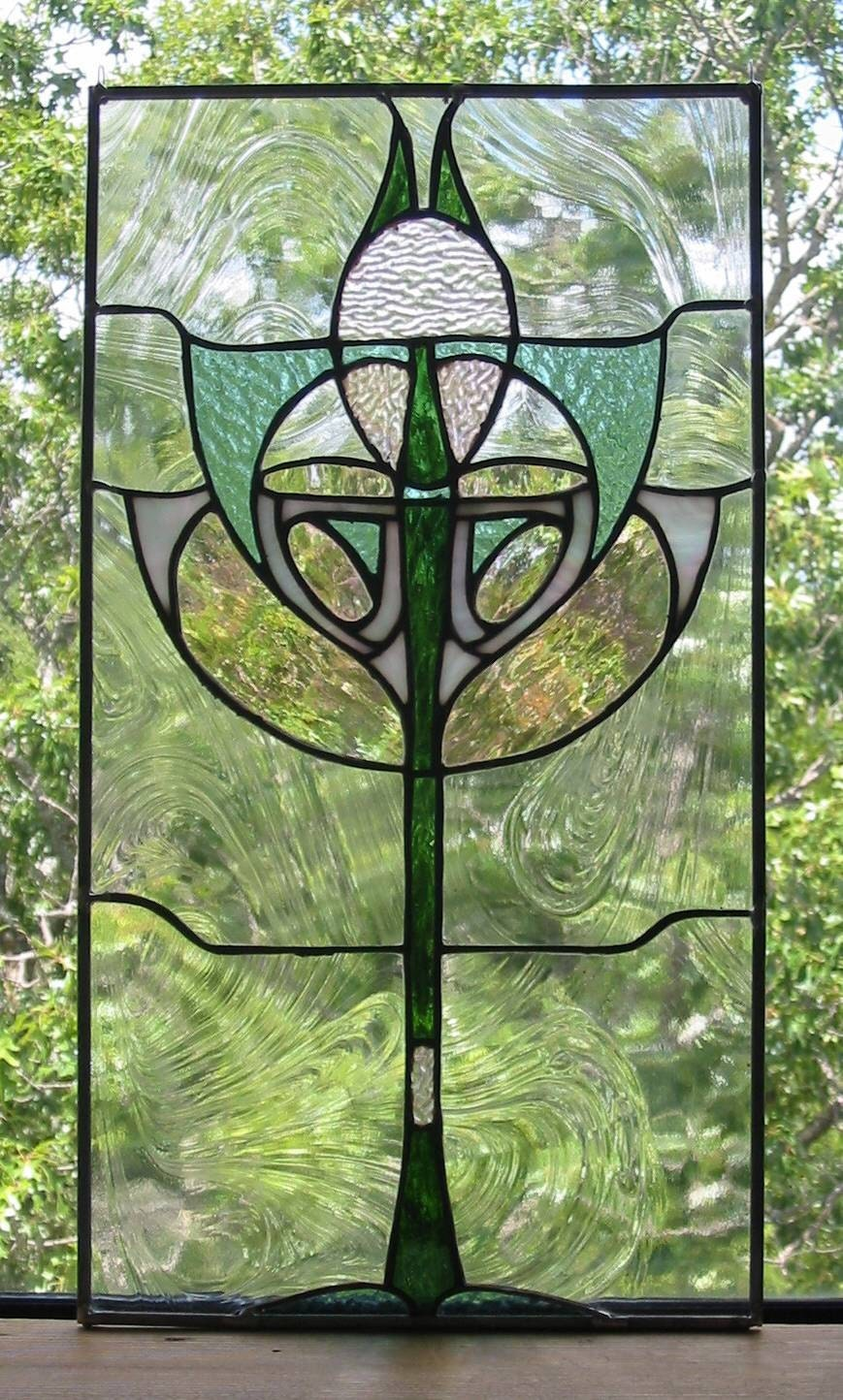 Art deco stained glass window panel free by for Art deco glass windows