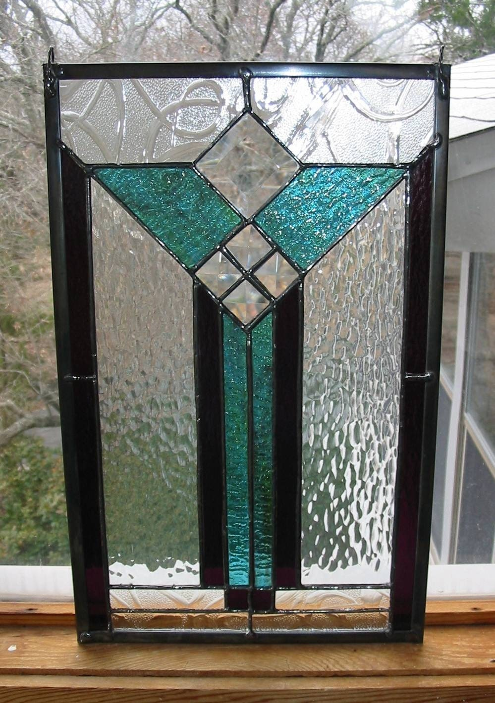 stained glass panel modern art deco style by. Black Bedroom Furniture Sets. Home Design Ideas