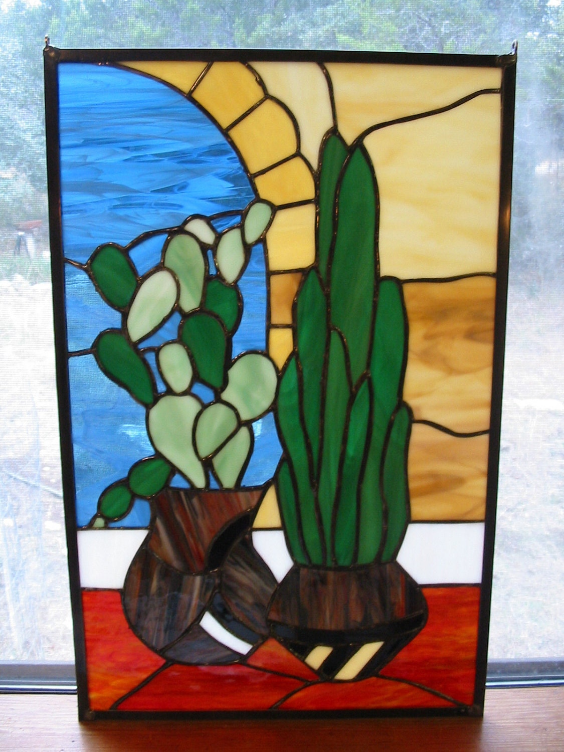 Desert Cactus Stained Glass Window Panel by ...