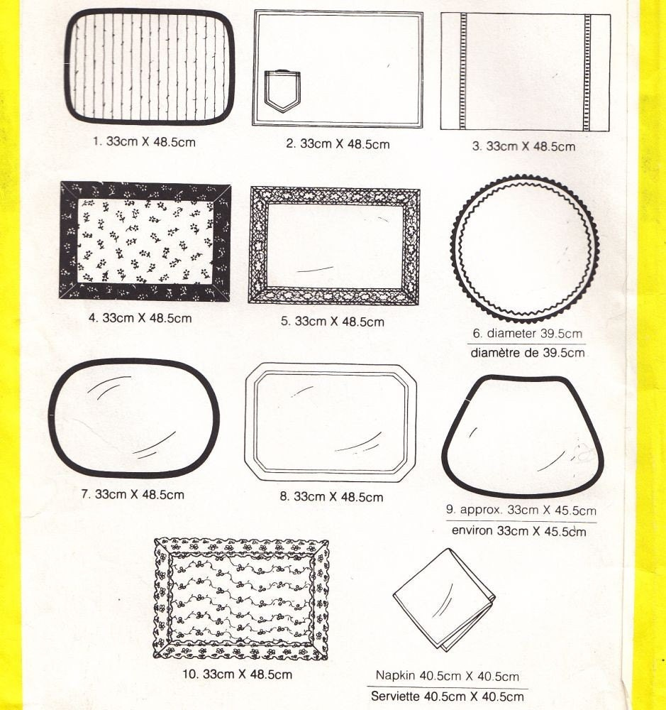 Placemats Sewing Pattern 10 Styles Simplicity by ...