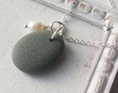 RUSTIC ELEGANCE ......Scottish Beach Stone and Fresh Water Pearl Necklace (796)