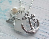 ALL AT SEA .........Scottish Sea Glass, Silver Anchor and Starfish Necklace (1220)