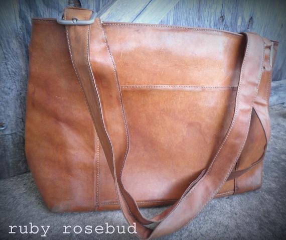 Vintage Distressed Leather Satchel
