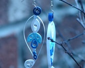 RESERVED  -- Quilled Earrings blue and white