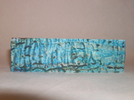 Stabilizied Maple Burl Knife Scale Block Dyed Blue (3)