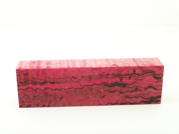 Stabilized Maple Burl Knife Scale Block (2) Red