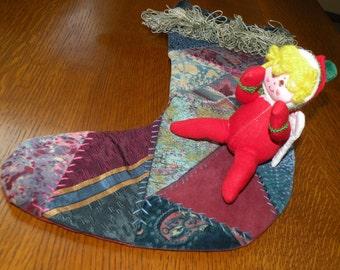 Vtg Velveteen Patchwork CHRISTMAS Stocking and Fabric Angel