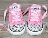 Bling Converse- Swarovski Crystal Embellished Infant Toddler Childrens Shoes- PINK