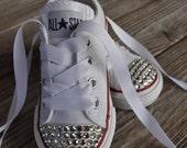 Swarovski Crystal Embellished Infant Toddler Childrens Converse- White