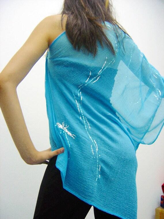 Ethereal Turquoise shrug ,bolero,tunic