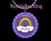 Personalized Pendant Purple Rainbow Necklace Key Chain or Zipper Pull