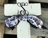 Monogram Wooden Distressed Cross with Toile Ribbon