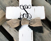 Monogram Wooden Distressed Cross with Burlap Ribbon