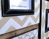 Chevron, Diamond and Clover Design Grouping of Distressed Picture Frames