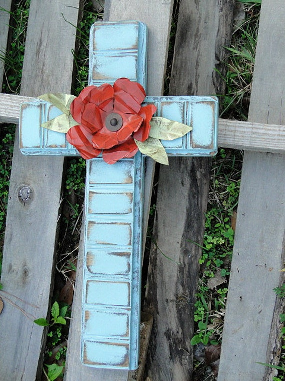 Distressed Beadboard Cross with Metal Flowers and Leaves