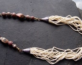 Leopard Jasper Gemstone  and Beads Mixed Metal Tribal Ethnic Necklace