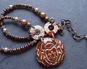 Glamorous Steampunkery - Beetles, Washers and Pearls Necklace