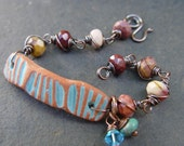 Gecko - Terra Cotta Stoneware and Mookaite on Copper Bracelet