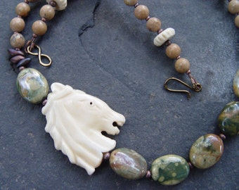 Ride a White Horse - Carved Bone Horse Focal, Rain Forest Jasper, Picture Jasper Necklace