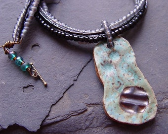 Old Penny - Copper Green and Pewter Pendant Necklace