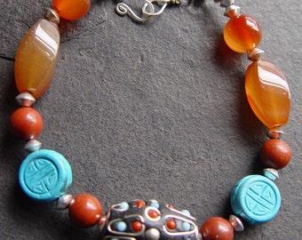 Loreena - Kashmiri, Carved Turquoise, Red Jasper and Carnelian Bracelet Tribal Southwest Boho