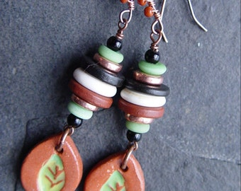 Bird Tracks - Terra Cotta Stacked Earrings