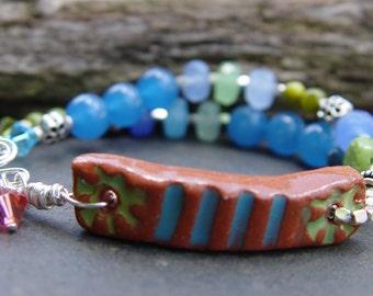 Sea Sky Earth - Terra Cotta, Apatite, Kyanite, Sterling Silver Bracelet