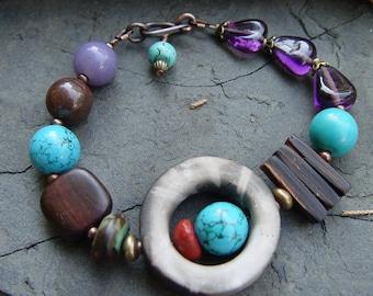 Smokey Raku - Turquoise, Oregon Opal and Glass Bracelet