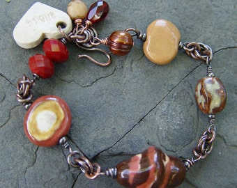 Share -- Cherry Cordials, Caramel and Roses - Porcelain and Copper Bracelet
