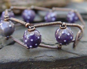 Ball Bearings - Stoneware and Copper Bracelet Purple Industrial Urban Steampunk Modernistic