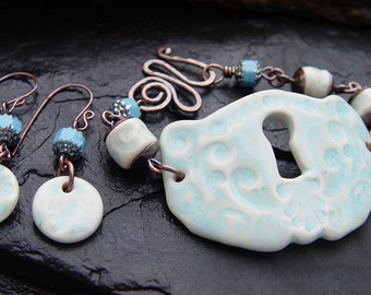 Victorian Inspired Stoneware Keyhole Wrist Cuff Bracelet and Earrings Set